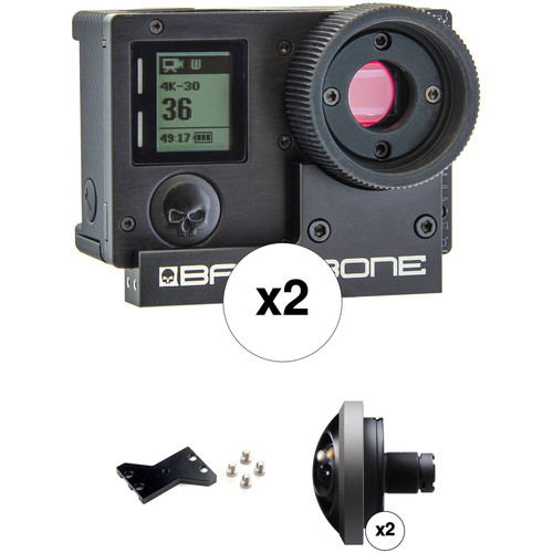 Back-Bone Gear Ribcage Modified GoPro HERO4 Black Panoramic Rig with 220° Fisheye Lenses Kit