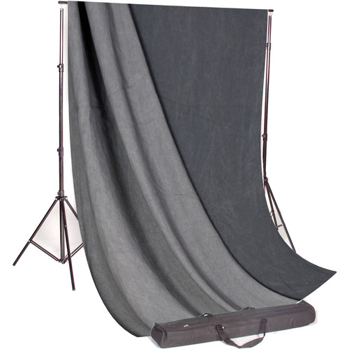 Backdrop Alley Studio Kit with Muslin Backdrop (10 x 12', Charcoal / Lighter Gray)