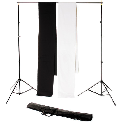 Backdrop Alley Studio Kit with Muslin Backdrop (10 x 12', Black and White)
