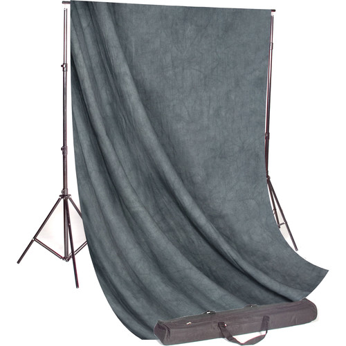 Backdrop Alley Studio Kit with Muslin Backdrop (10 x 12', Gray Mist Crush)