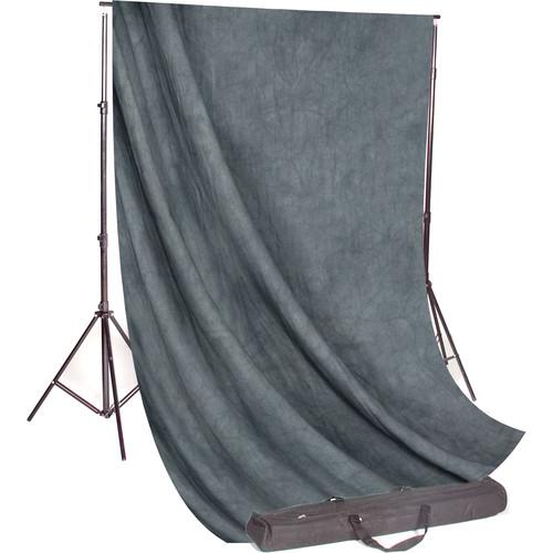 Backdrop Alley Studio Kit with Muslin Backdrop (10 x 12', Gray Mist Crush)