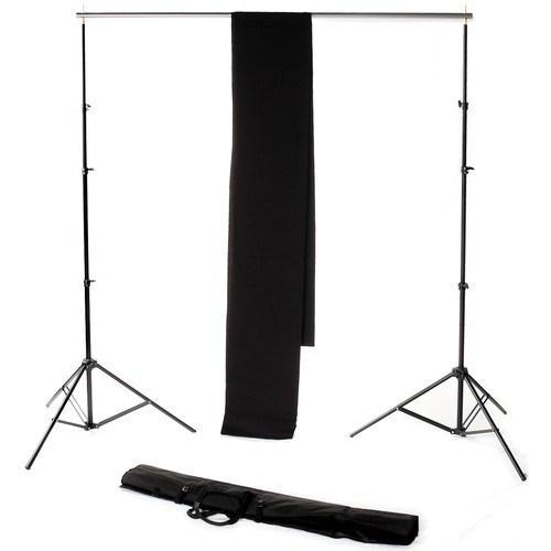 Backdrop Alley Studio Kit with Muslin Backdrop (10 x 24', Black)