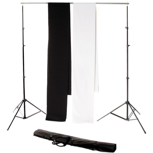 "Backdrop Alley Studio Kit with Muslin Backdrop (10 x 24"", Black and White)"