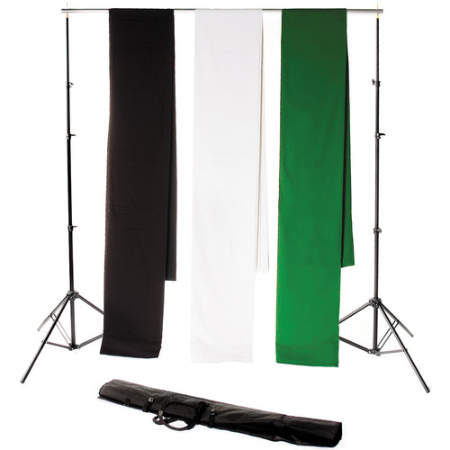 Backdrop Alley Studio Kit with Stand and Three 10 x 24' Premium Muslin Backdrops (Black, White, Chroma-key Green)