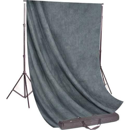 Backdrop Alley Studio Kit with Muslin Backdrop (10 x 24', Gray Mist Crush)