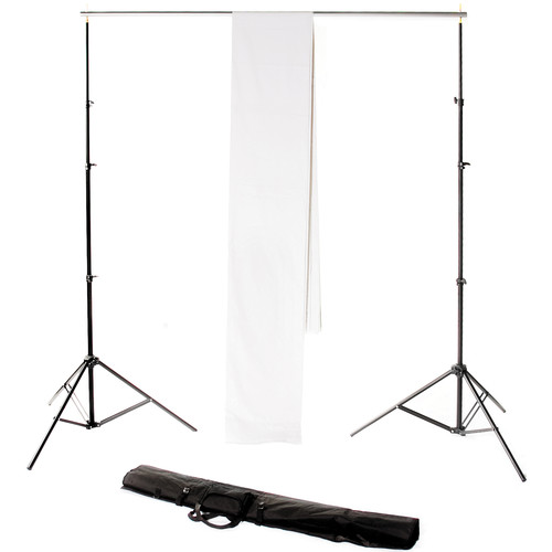 Backdrop Alley Studio Kit with Muslin Backdrop (10 x 24', White)