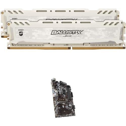 Ballistix 16GB Sport LT DDR4 Memory & MSI B360-A Pro LGA 1151 ATX Motherboard Kit