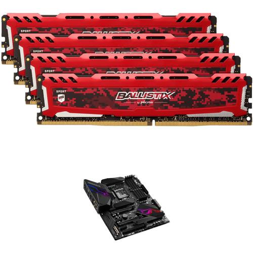 Ballistix 32GB Sport LT Series DDR4 & ASUS ROG Maximus XI Hero LGA 1151 ATX Motherboard Kit