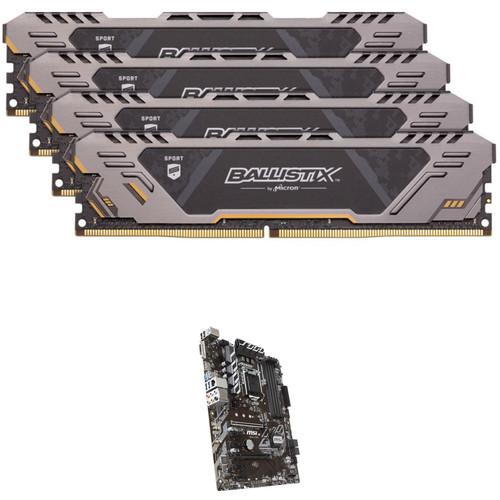 Ballistix 64GB Sport AT Series DDR4 & MSI B360-A Pro LGA 1151 ATX Motherboard Kit