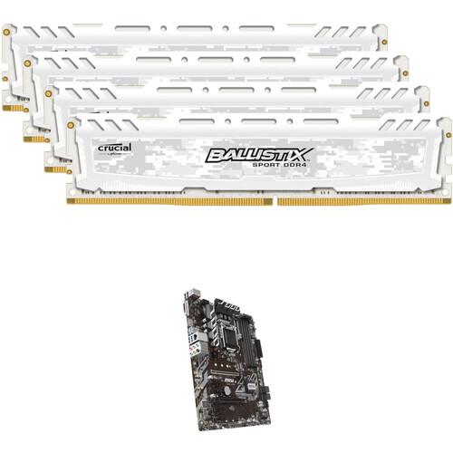 Ballistix 64GB Sport LT DDR4 Memory & MSI B360-A Pro LGA 1151 ATX Motherboard Kit