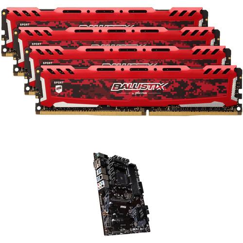 Ballistix 64GB Sport LT Series DDR4 & MSI B450-A PRO AM4 ATX Motherboard Kit