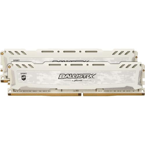 Ballistix 32GB Sport LT Series DDR4 3200 MHz DR UDIMM Memory Kit (2 x 16GB, White)