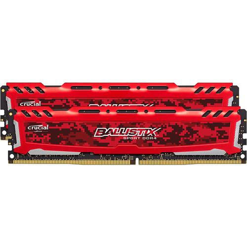 Ballistix 16GB Sport LT Series DDR4 2666 MHz UDIMM Memory Kit (2 x 8GB, Red)
