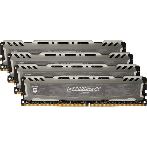 Ballistix 64GB Sport LT Series DDR4 3200 MHz DR UDIMM Memory Kit (4 x 16GB, Gray)