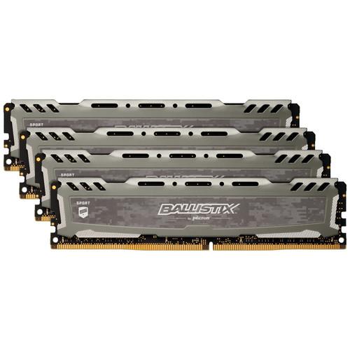 Ballistix Ballistix 32GB Sport LT Series DDR4 2666 MHz UDIMM Memory Kit (4 x 8GB, Gray)
