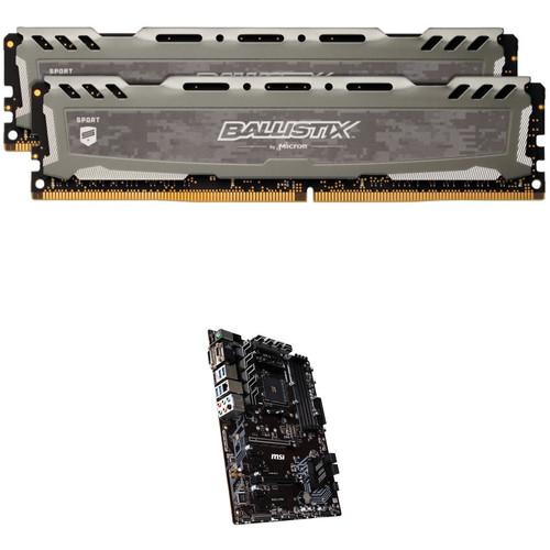 Ballistix 16GB Sport LT DDR4 Memory & MSI B450-A PRO AM4 ATX Motherboard Kit