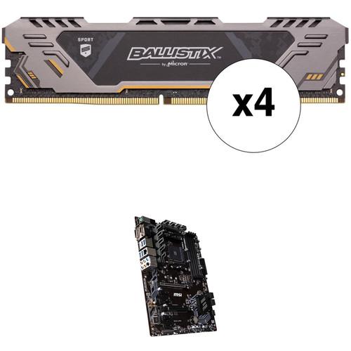Ballistix 64GB Sport AT Series DDR4 & MSI B450-A PRO AM4 ATX Motherboard Kit