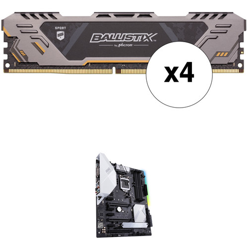 Ballistix 64GB Sport AT Series DDR4 & ASUS Prime Z370-A II LGA 1151 ATX Motherboard Kit