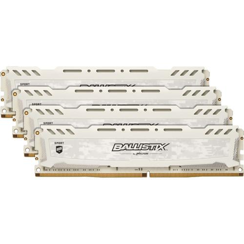 Ballistix 64GB Sport LT Series DDR4 3000 MHz DR UDIMM Memory Kit (4 x 16GB, 15-16-16, White)