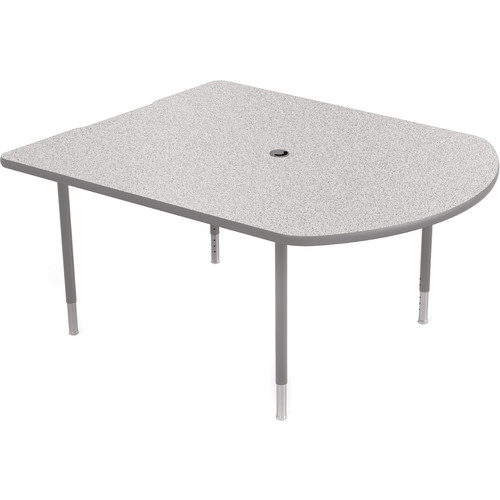 Balt MediaSpace Multimedia & Collaboration Table (Small, Gray Nebula Laminate, Platinum Edge, Platinum Legs)