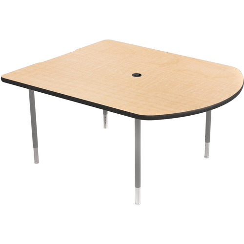 Balt MediaSpace Multimedia & Collaboration Table (Small, Fusion Maple Laminate, Black Edge, Platinum Legs)