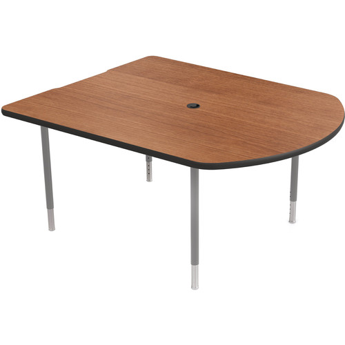 Balt MediaSpace Multimedia & Collaboration Table (Small, Amber Cherry Laminate, Black Edge, Platinum Legs)
