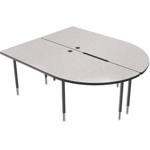 Balt MediaSpace Multimedia & Collaboration Large Double Table with Black Legs (Gray Nebula Laminate, Black Edge)