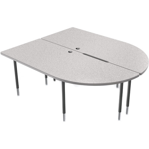 Balt MediaSpace Multimedia & Collaboration Large Double Table with Black Legs (Gray Nebula Laminate, Platinum Edge)