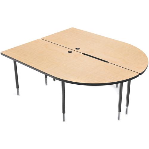 Balt MediaSpace Multimedia & Collaboration Large Double Table with Black Legs (Fusion Maple Laminate, Black Edge)