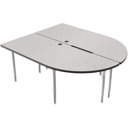 Balt MediaSpace Multimedia & Collaboration Large Double Table with Platinum Legs (Gray Nebula Laminate, Black Edge)