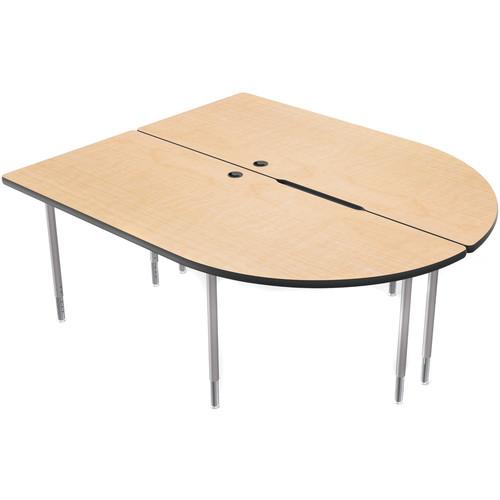 Balt MediaSpace Multimedia & Collaboration Table (LargeDouble, Fusion Maple Laminate, Black Edge, Platinum Legs)