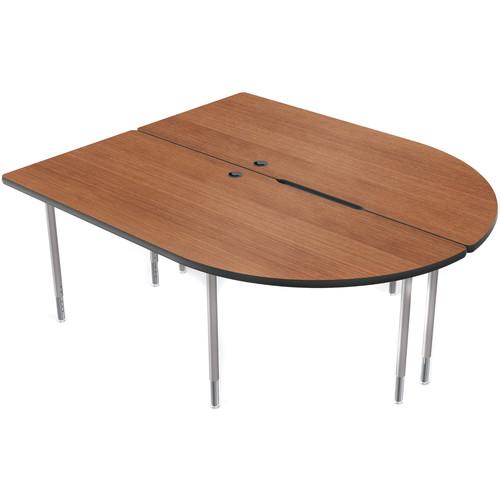 Balt MediaSpace Multimedia & Collaboration Table (LargeDouble, Amber Cherry Laminate, Black Edge, Platinum Legs)