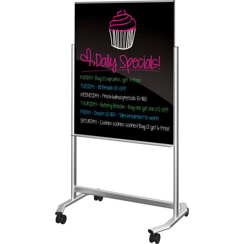 Balt Visionary Move Mobile Magnetic Glass Whiteboard (3 x 4', Black)