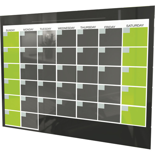 Balt Black Magnetic Glass Dry Erase Monthly Calendar (1.5 x 2')