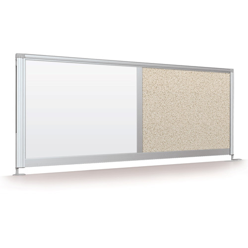 """Balt Desktop Privacy Panel (17 x 58"""", Porcelain Steel / Pebbles Vinyl)"""