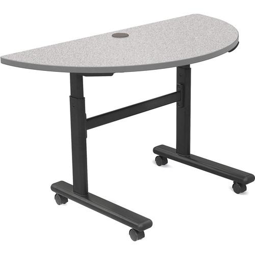 Balt Height Adjustable Flipper Table (Half Round, Gray Nebula Laminate, Platinum Edge)
