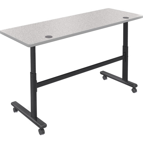 "Balt Height Adjustable Flipper Table (60"" Long, Gray Nebula Laminate, Platinum Edge)"