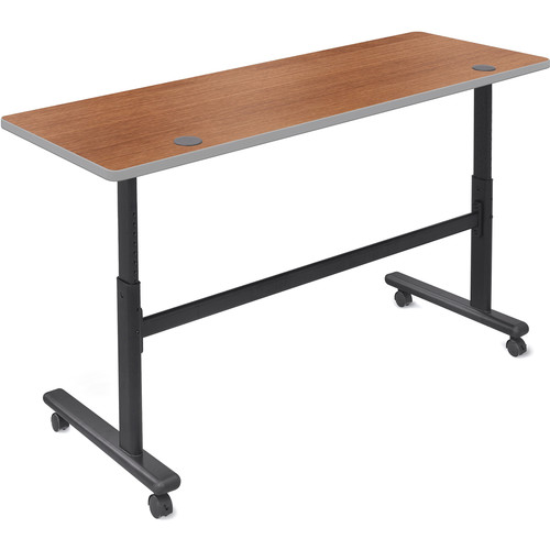 "Balt Height Adjustable Flipper Table (60"" Long, Amber Cherry Laminate, Platinum Edge)"