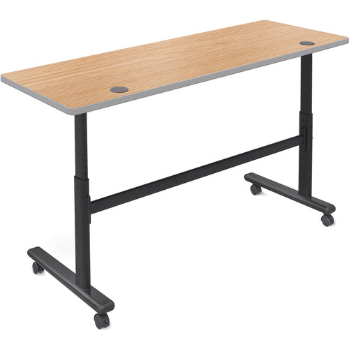"Balt Height Adjustable Flipper Table (60"" Long, Castle Oak Laminate, Platinum Edge)"
