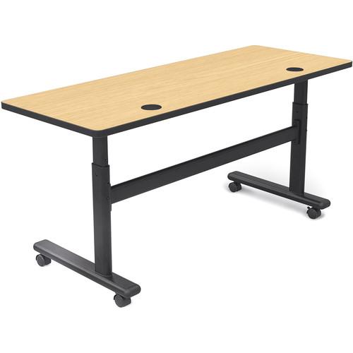 "Balt Height Adjustable Flipper Table (60"" Long, Fusion Maple Laminate, Platinum Edge)"