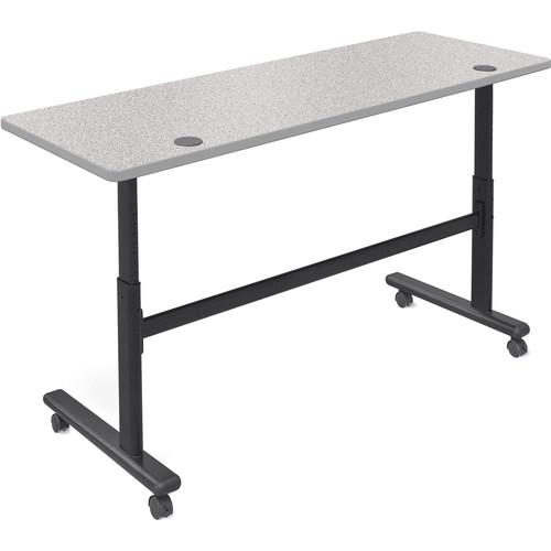 "Balt Height Adjustable Flipper Table (72"" Long, Gray Nebula Laminate, Platinum Edge)"