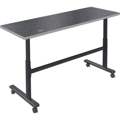 "Balt Height Adjustable Flipper Table (72"" Long, Graphite Nebula Laminate, Platinum Edge)"