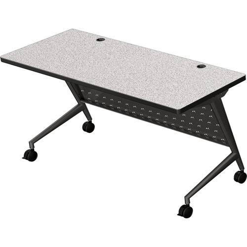 "Balt Trend Fliptop & Conference Table (60"" Long, Black Frame, Gray Nebula Laminate, Black Edge)"