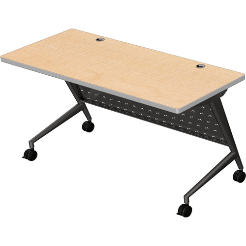 "Balt Trend Fliptop & Conference Table (60"" Long, Black Frame, Fusion Maple Laminate, Platinum Edge)"