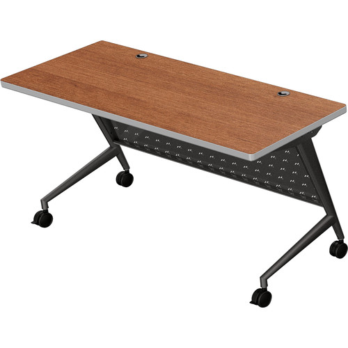 "Balt Trend Fliptop & Conference Table (60"" Long, Black Frame, Amber Cherry Laminate, Platinum Edge)"
