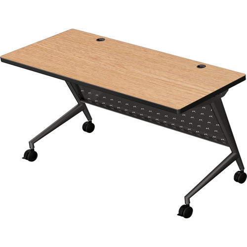 "Balt Trend Fliptop & Conference Table (60"" Long, Black Frame, Castle Oak Laminate, Black Edge)"