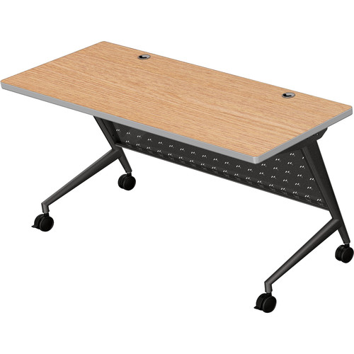 "Balt Trend Fliptop & Conference Table (60"" Long, Black Frame, Castle Oak Laminate, Platinum Edge)"