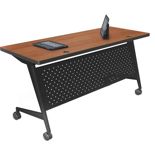"Balt Trend Fliptop & Conference Table (60"" Long, Black Frame, Nepal Teak Laminate, Black Edge)"