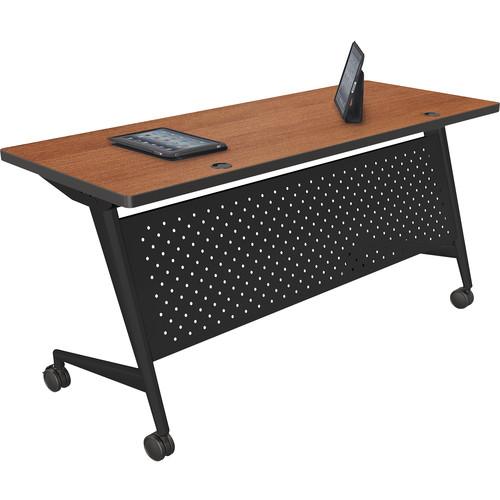 "Balt Trend Fliptop & Conference Table (72"" Long, Black Frame, Amber Cherry Laminate, Platinum Edge)"