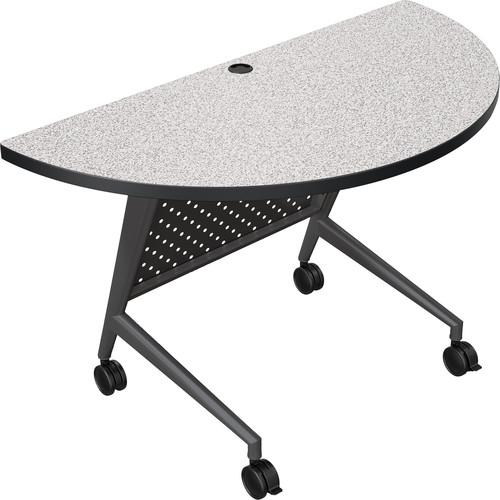Balt Trend Fliptop & Conference Table (Half Round, Black Frame, Gray Nebula Laminate, Black Edge)